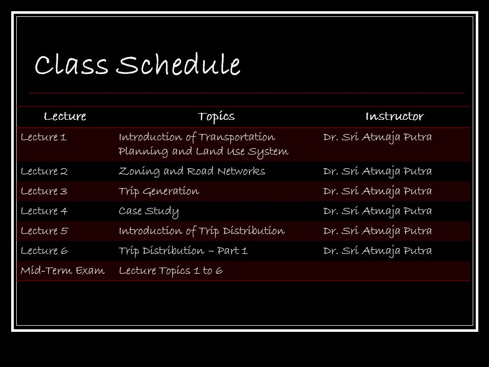 Class Schedule Lecture Topics Instructor Lecture 1