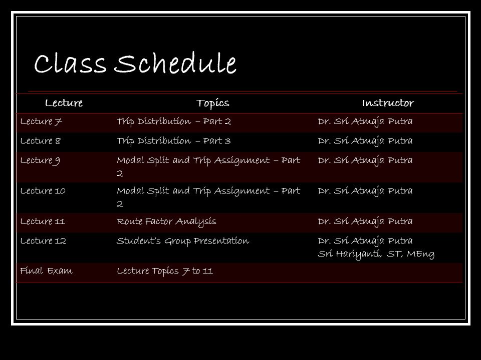 Class Schedule Lecture Topics Instructor Lecture 7