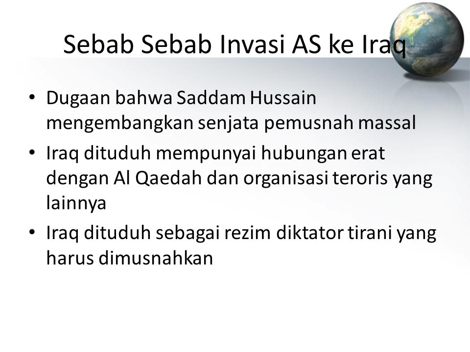 Sebab Sebab Invasi AS ke Iraq