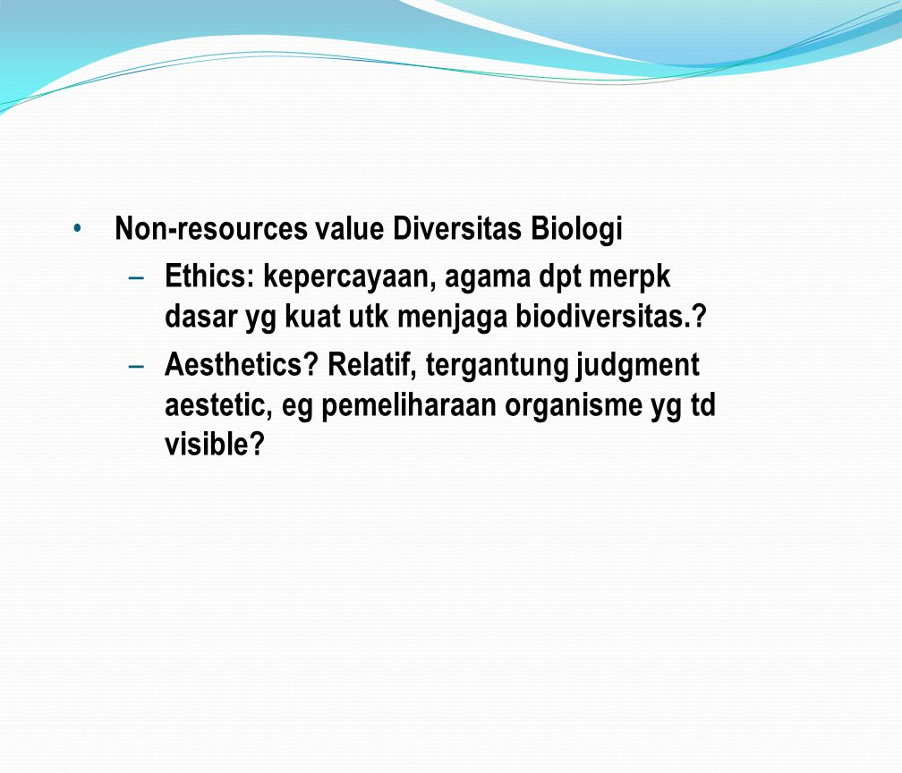 Non-resources value Diversitas Biologi