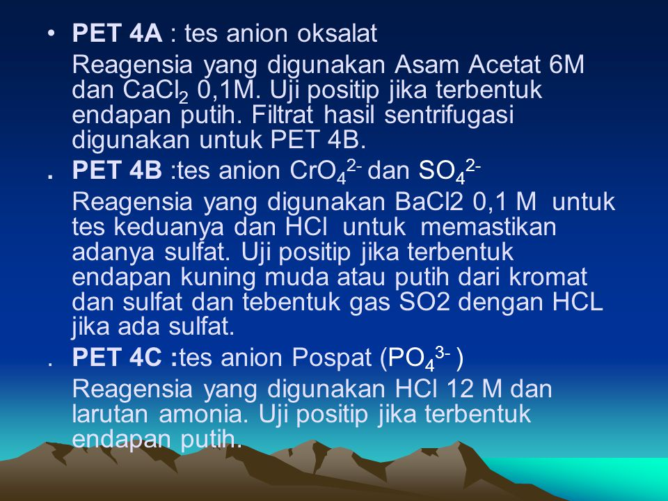PET 4A : tes anion oksalat
