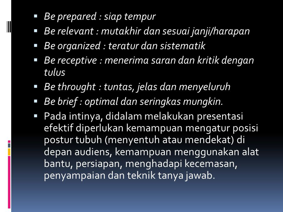 Be prepared : siap tempur