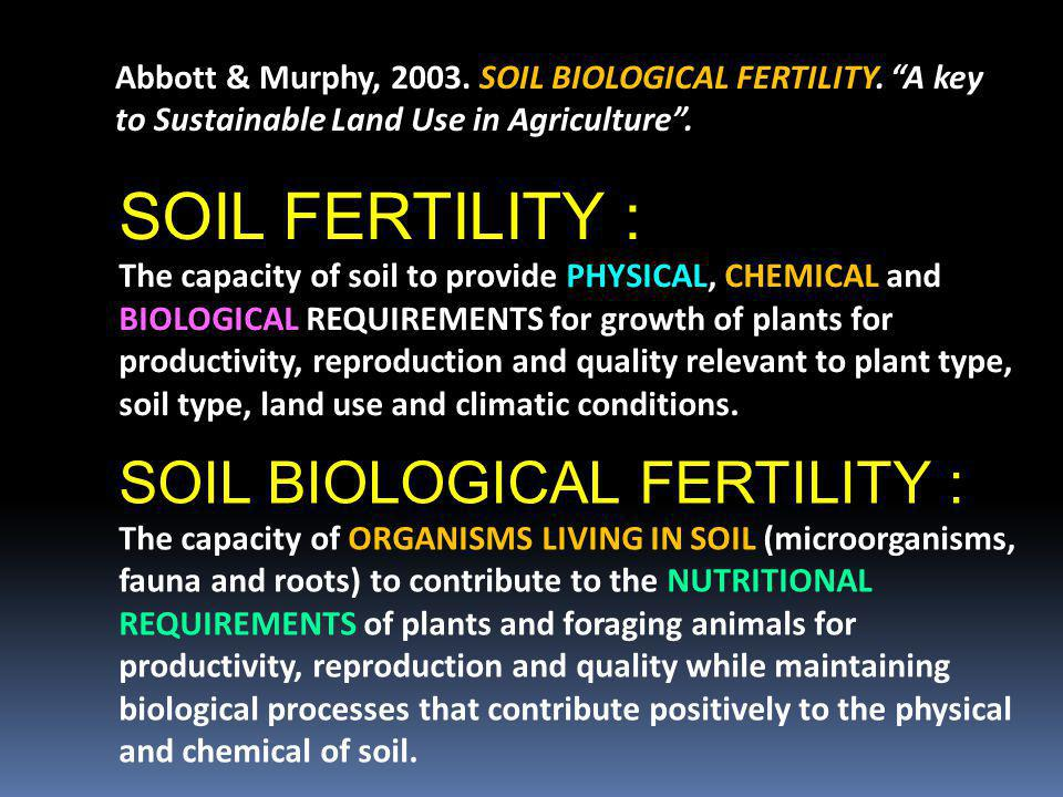 SOIL FERTILITY : SOIL BIOLOGICAL FERTILITY :