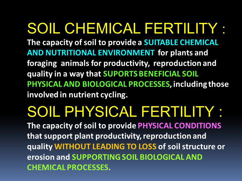 SOIL CHEMICAL FERTILITY :