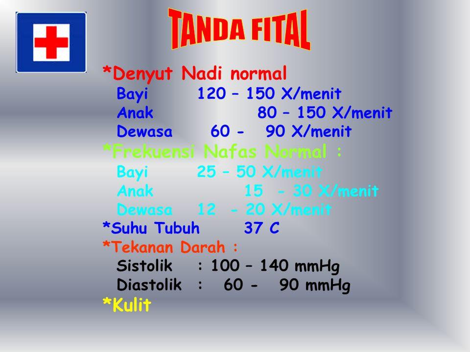 TANDA FITAL *Denyut Nadi normal *Frekuensi Nafas Normal : *Kulit