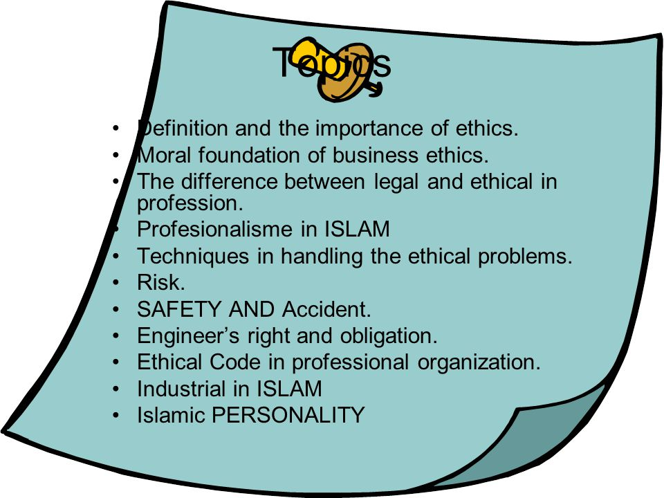 Topics Definition and the importance of ethics.