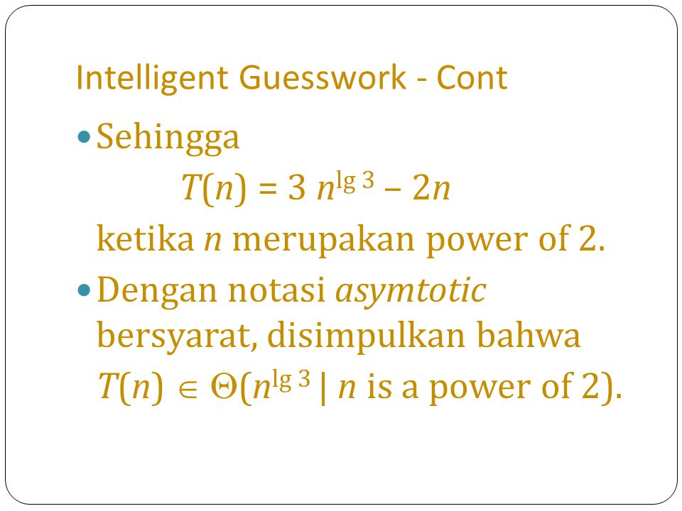 Intelligent Guesswork - Cont