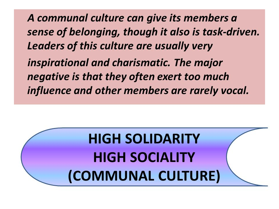 HIGH SOLIDARITY HIGH SOCIALITY (COMMUNAL CULTURE)