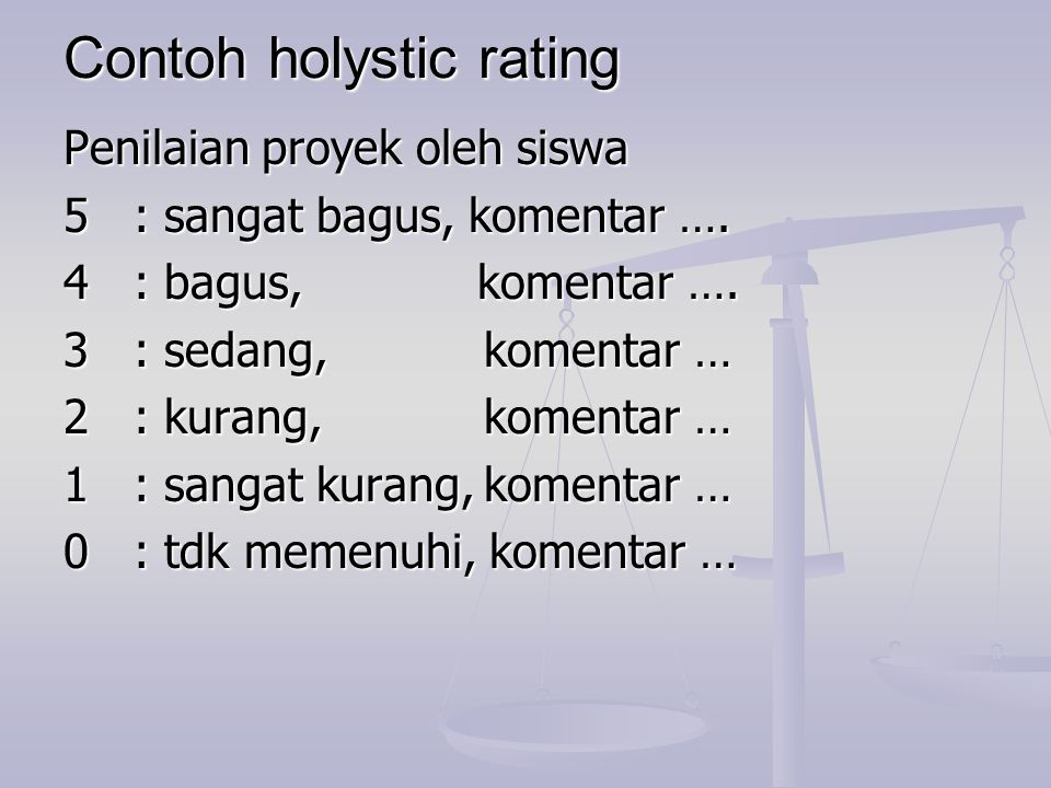 Contoh holystic rating