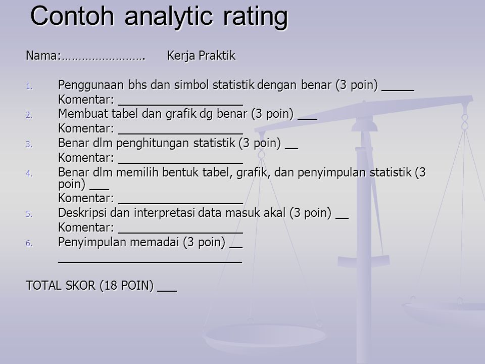 Contoh analytic rating