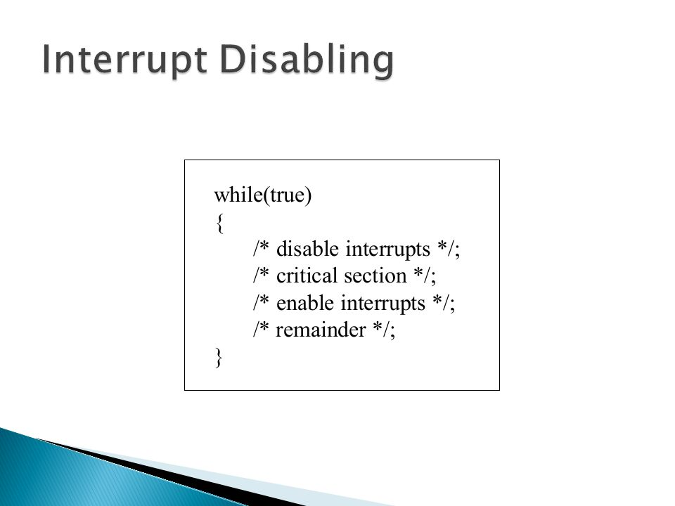 Interrupt Disabling