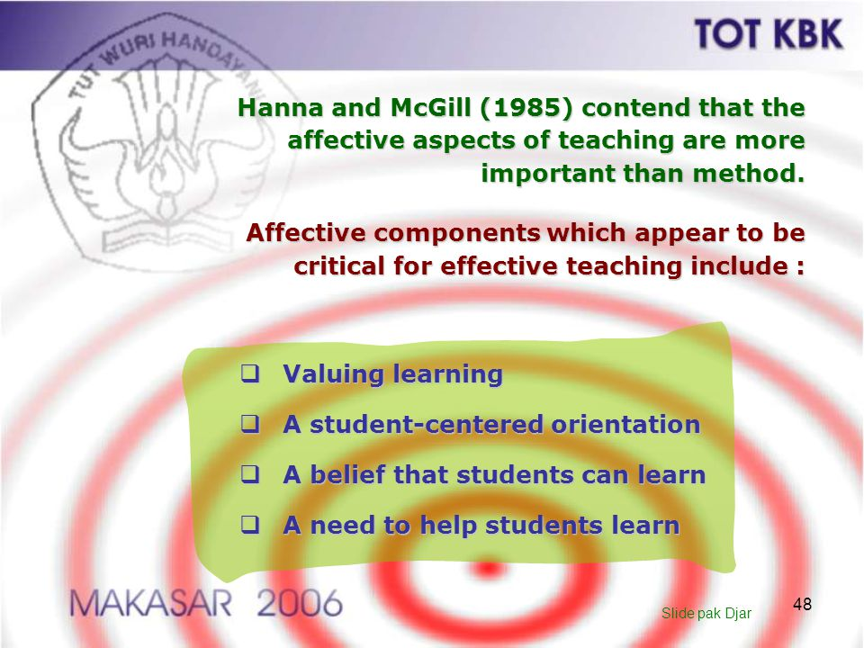 A student-centered orientation A belief that students can learn