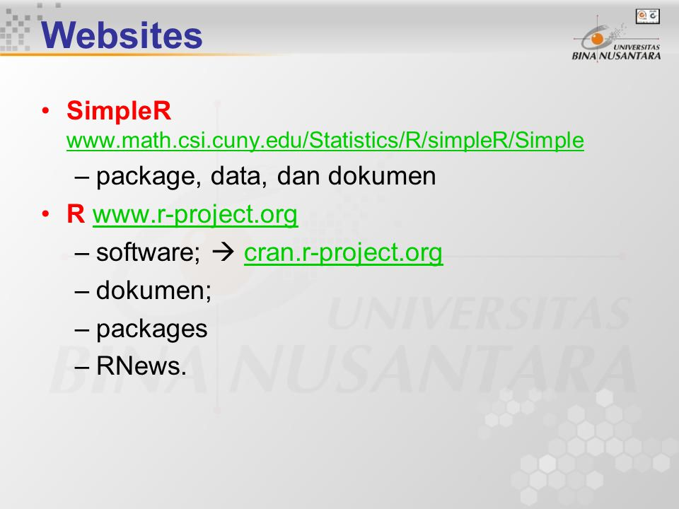 Websites SimpleR www.math.csi.cuny.edu/Statistics/R/simpleR/Simple