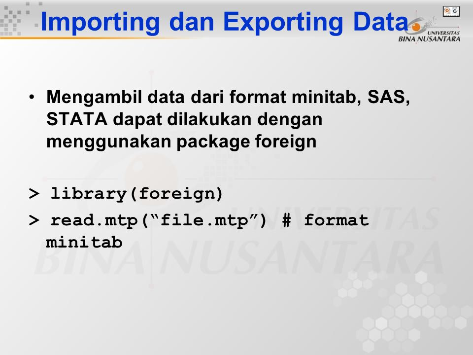 Importing dan Exporting Data