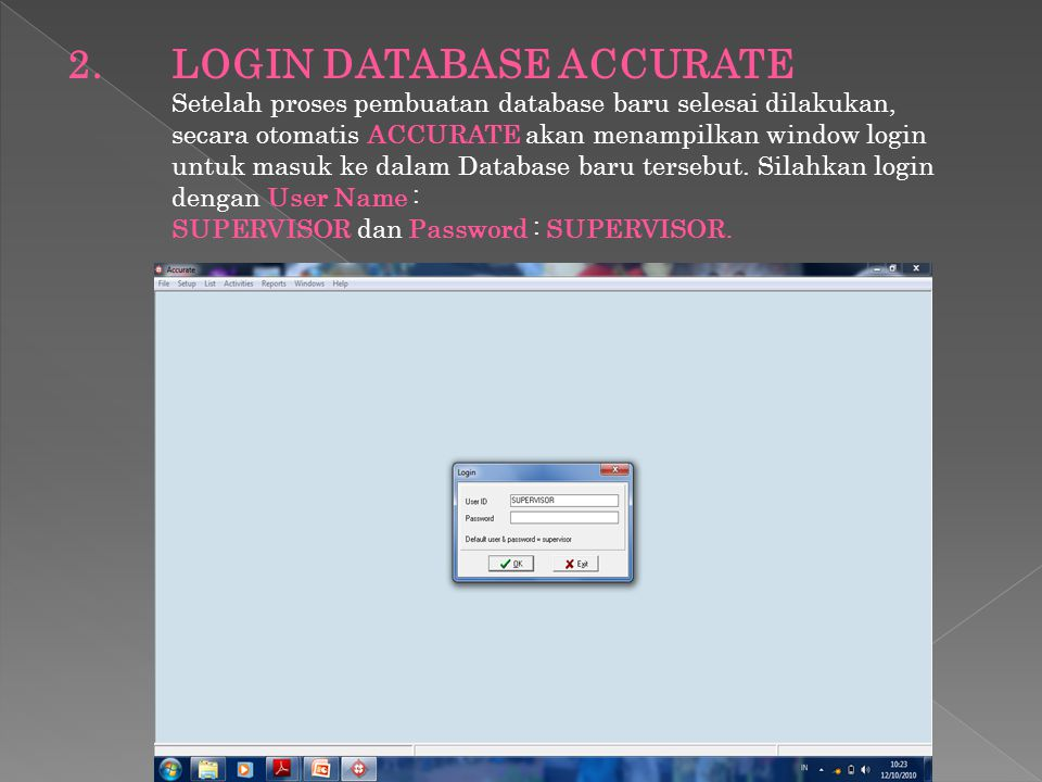 2. LOGIN DATABASE ACCURATE