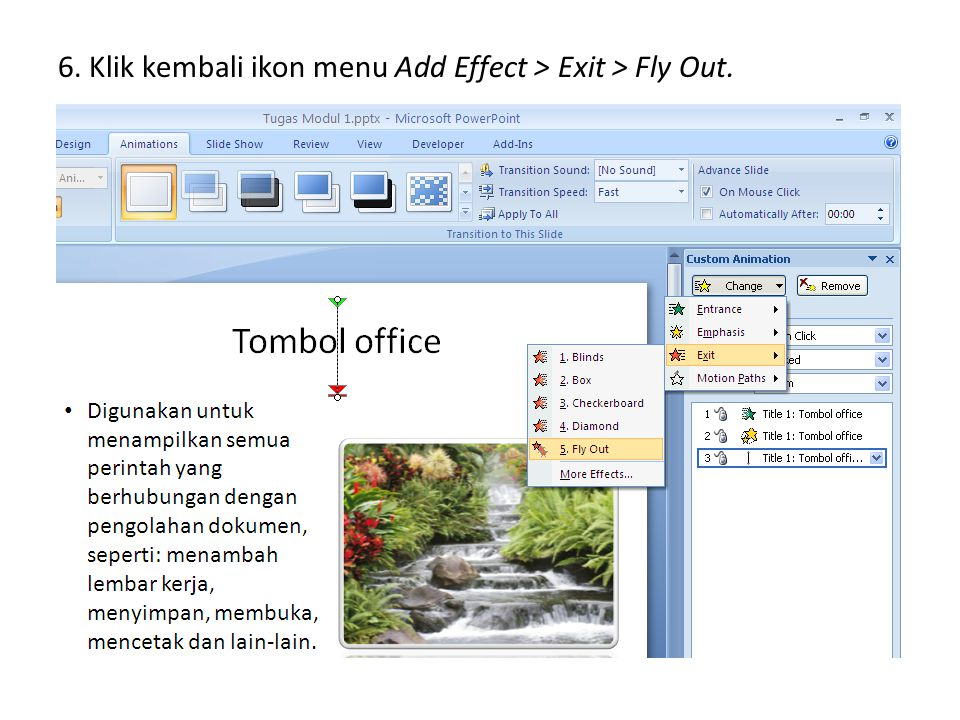 6. Klik kembali ikon menu Add Effect > Exit > Fly Out.