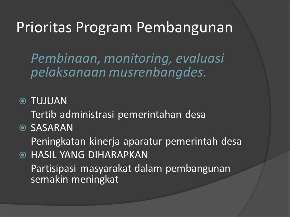 Prioritas Program Pembangunan