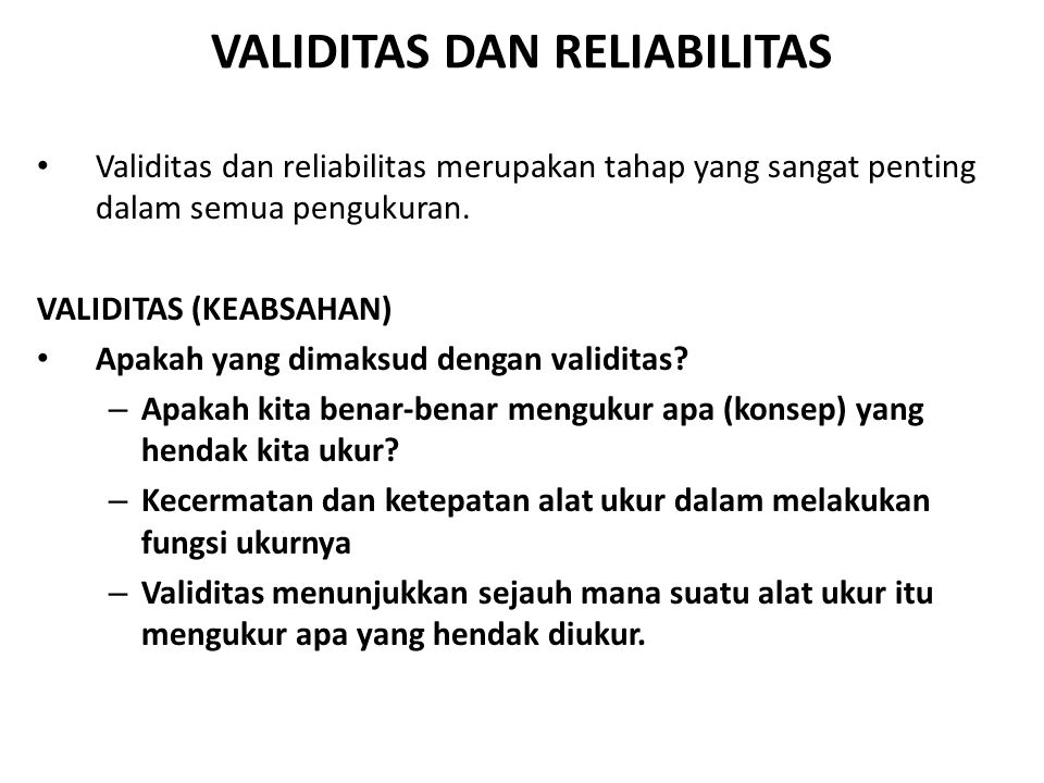 Validitas Dan Reliabilitas Ppt Download