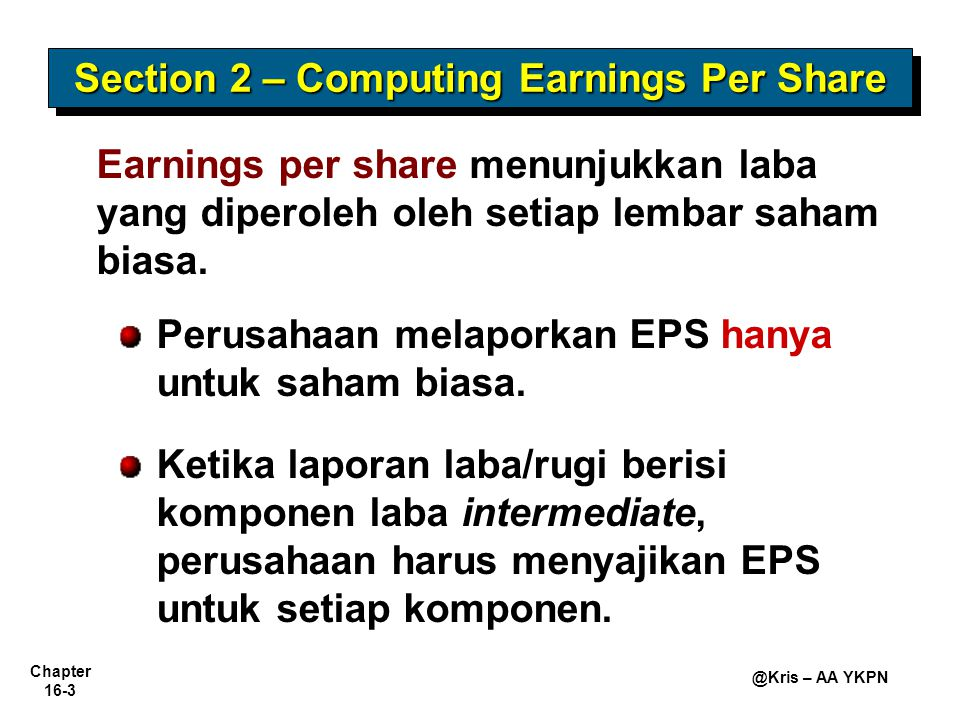 Section 2 – Computing Earnings Per Share