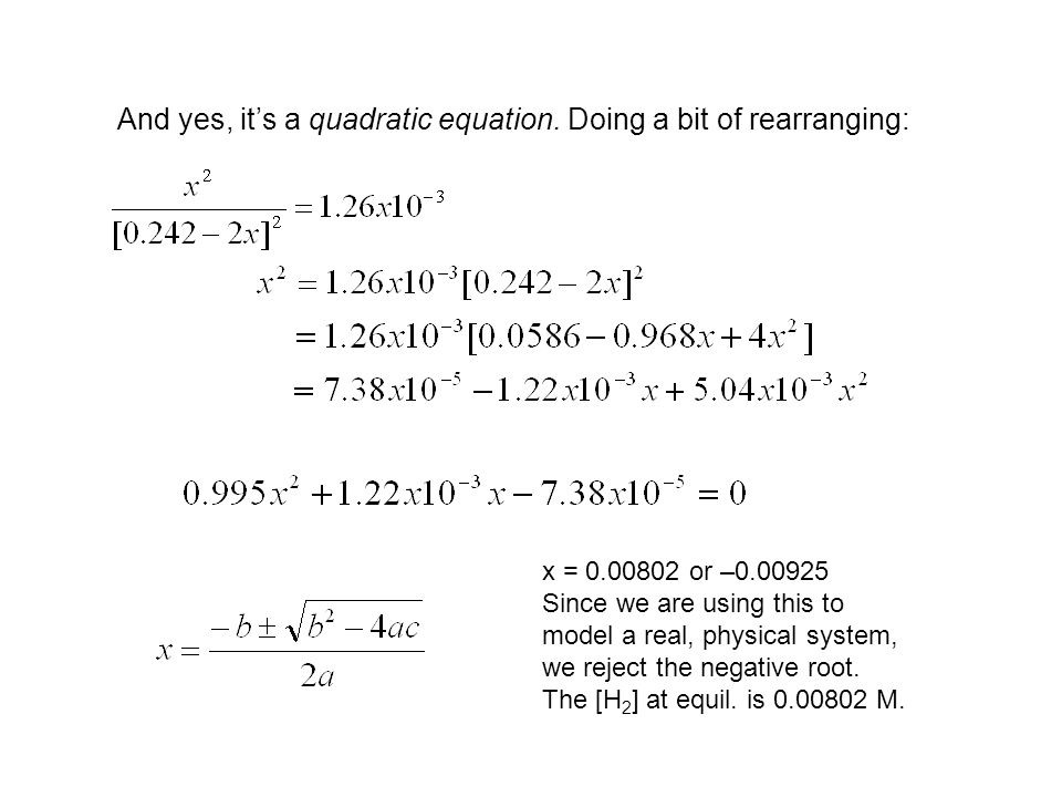 And yes, it's a quadratic equation. Doing a bit of rearranging: