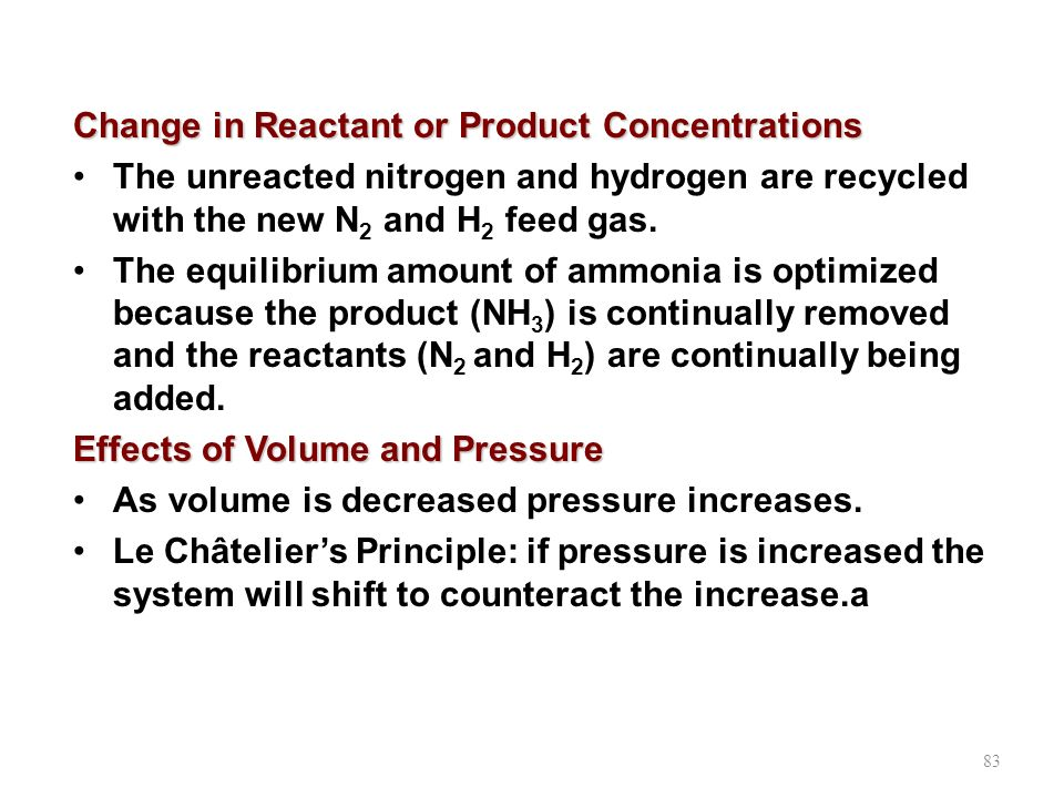 Change in Reactant or Product Concentrations