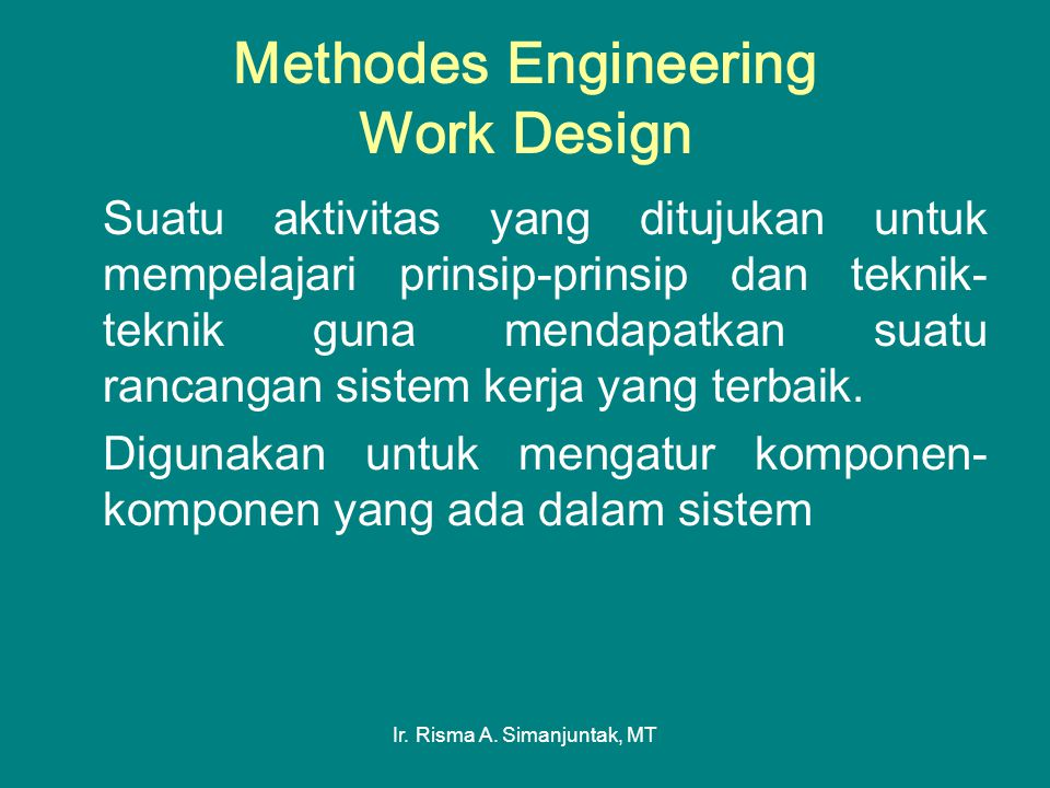 Methodes Engineering Work Design