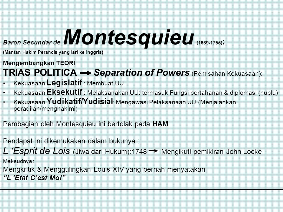 TRIAS POLITICA Separation of Powers (Pemisahan Kekuasaan):