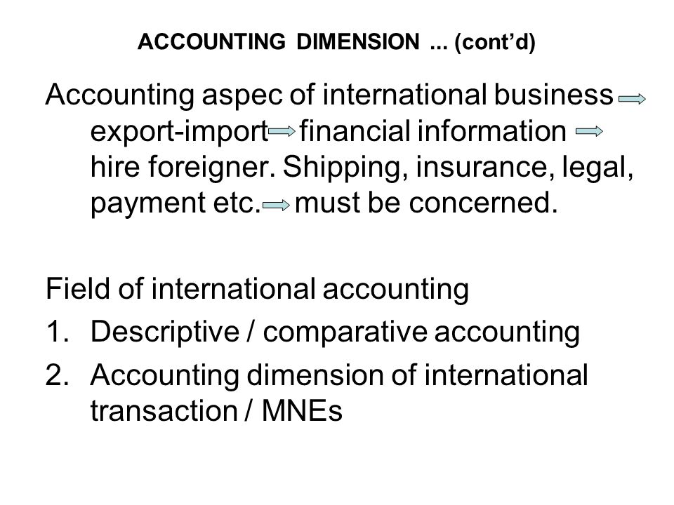 ACCOUNTING DIMENSION ... (cont'd)