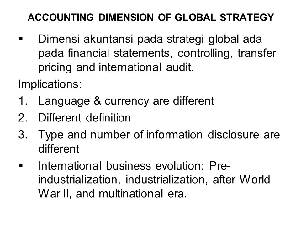 ACCOUNTING DIMENSION OF GLOBAL STRATEGY