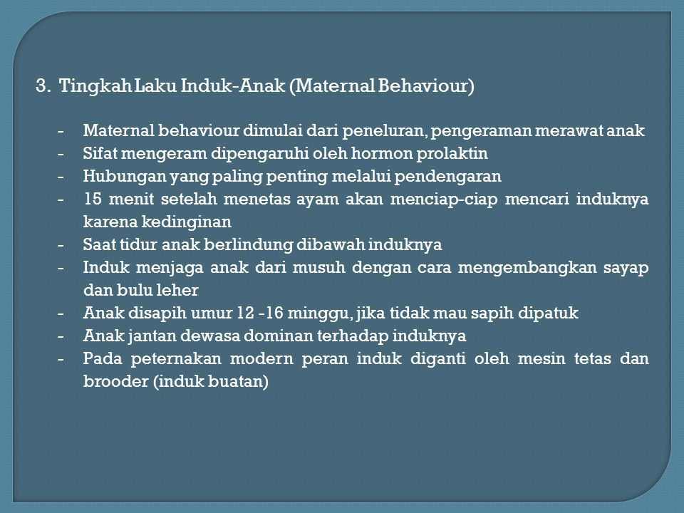 3. Tingkah Laku Induk-Anak (Maternal Behaviour)