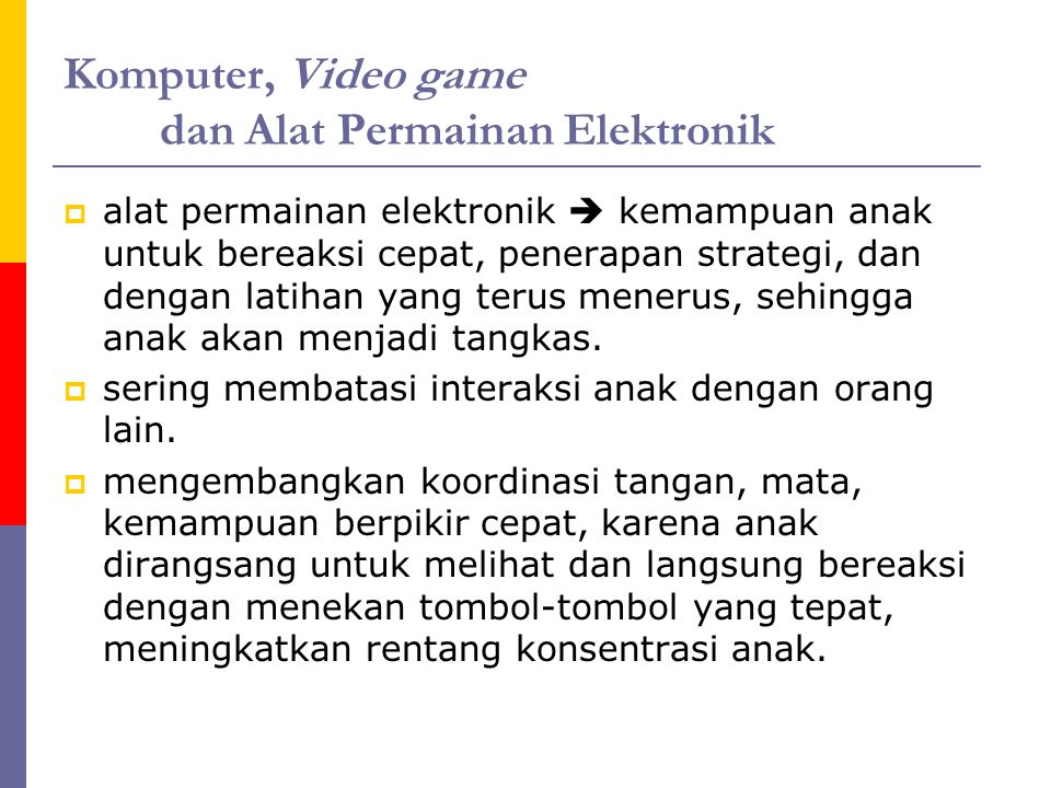 Komputer, Video game dan Alat Permainan Elektronik