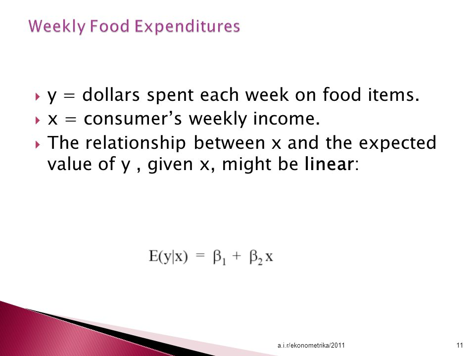 Weekly Food Expenditures