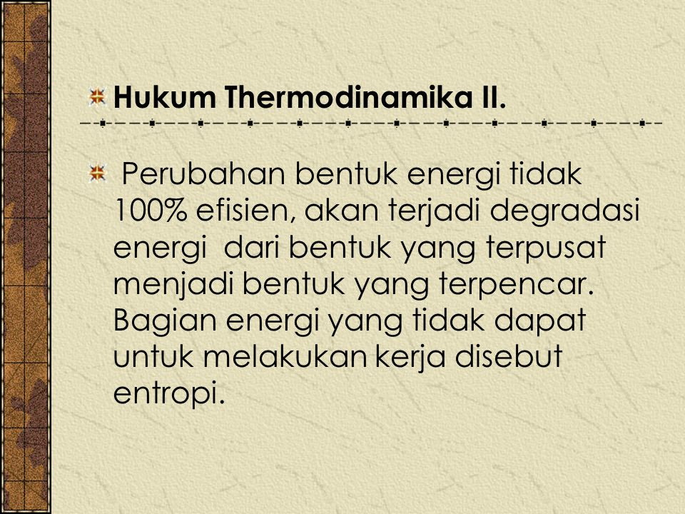 Hukum Thermodinamika II.