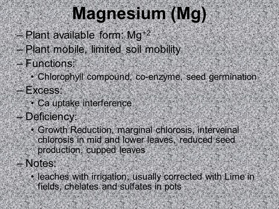Magnesium (Mg) Plant available form: Mg+2