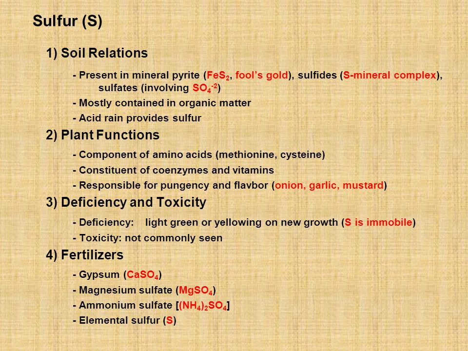 1) Soil Relations Sulfur (S)