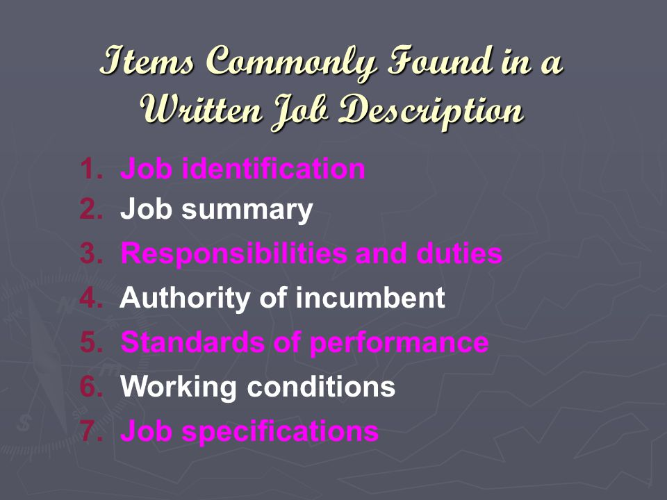 Items Commonly Found in a Written Job Description