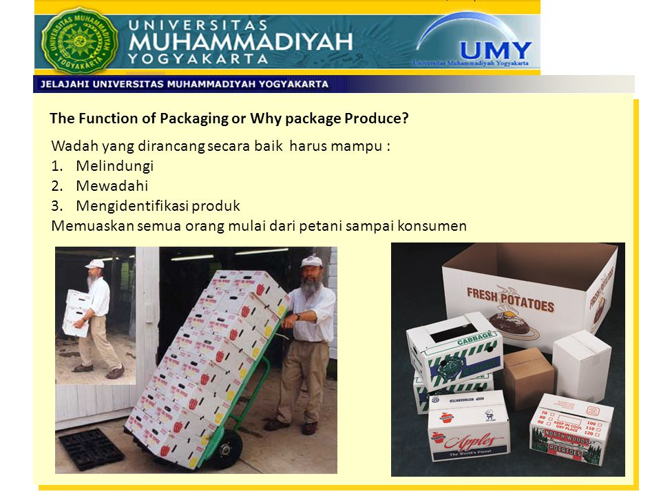 The Function of Packaging or Why package Produce