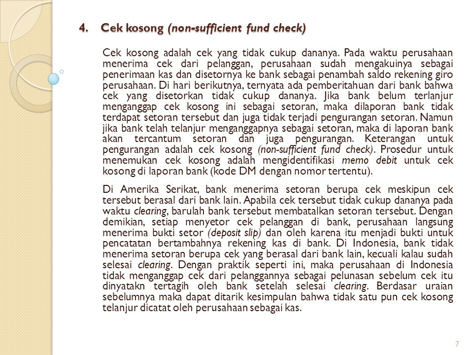 4. Cek kosong (non-sufficient fund check)