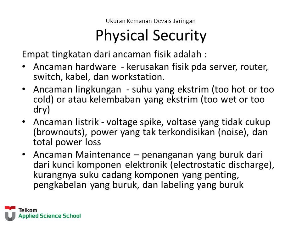 Ukuran Kemanan Devais Jaringan Physical Security