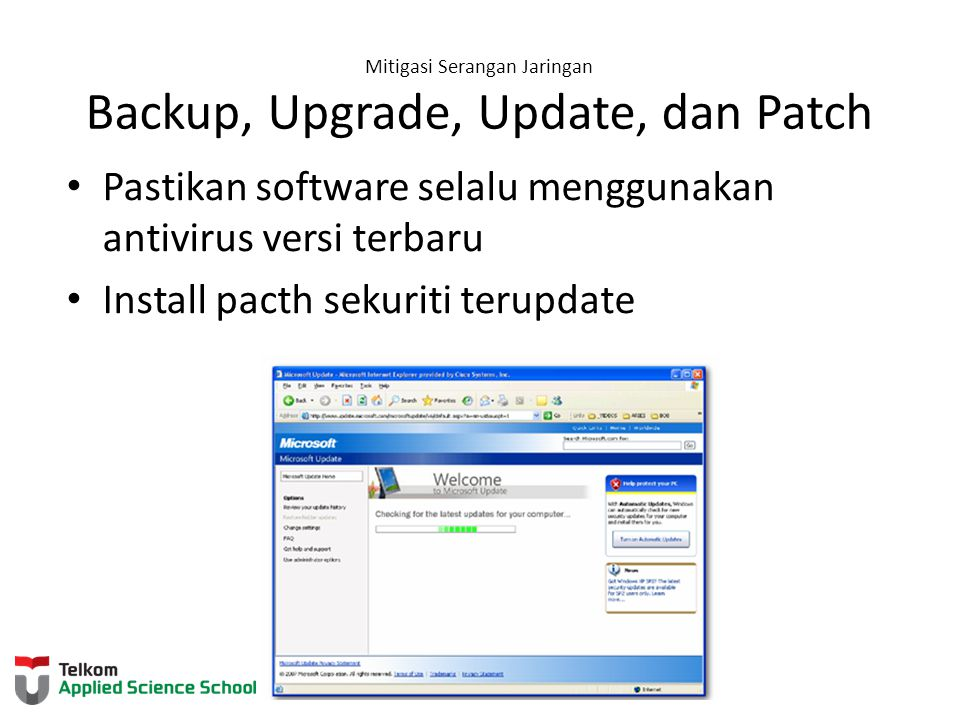 Mitigasi Serangan Jaringan Backup, Upgrade, Update, dan Patch
