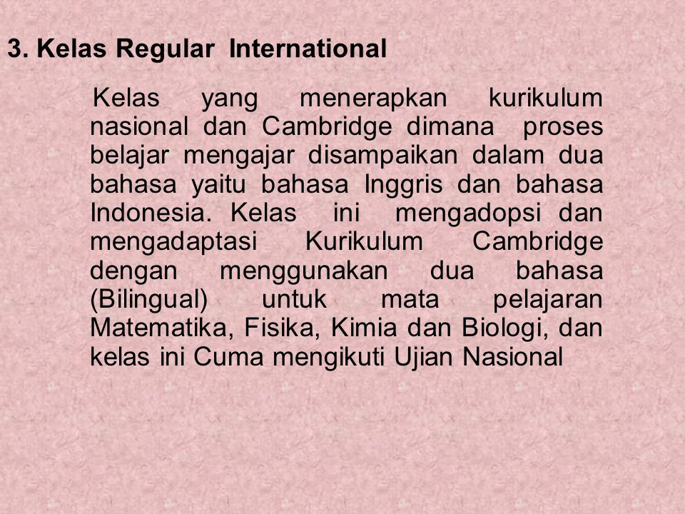 3. Kelas Regular International
