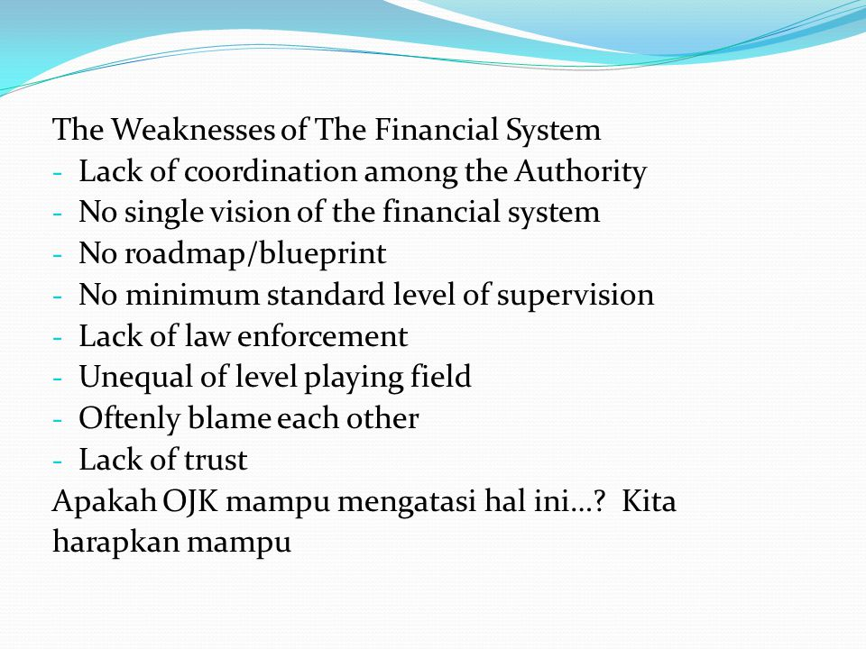 The Weaknesses of The Financial System