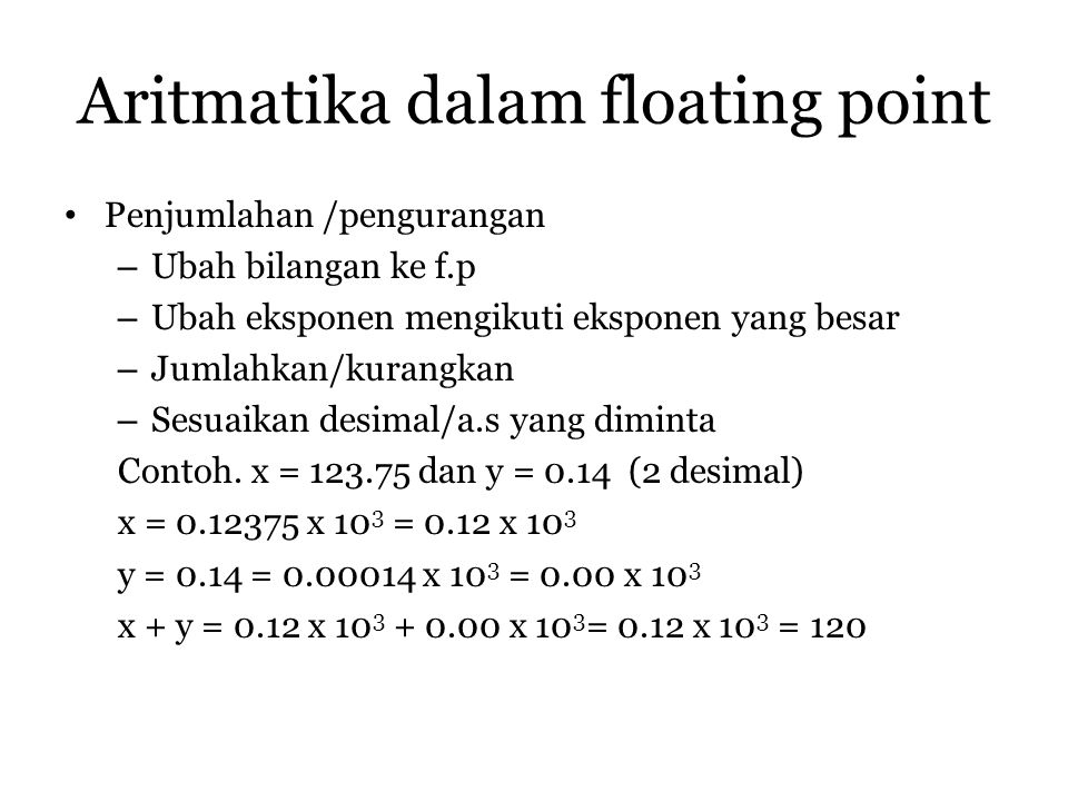Aritmatika dalam floating point