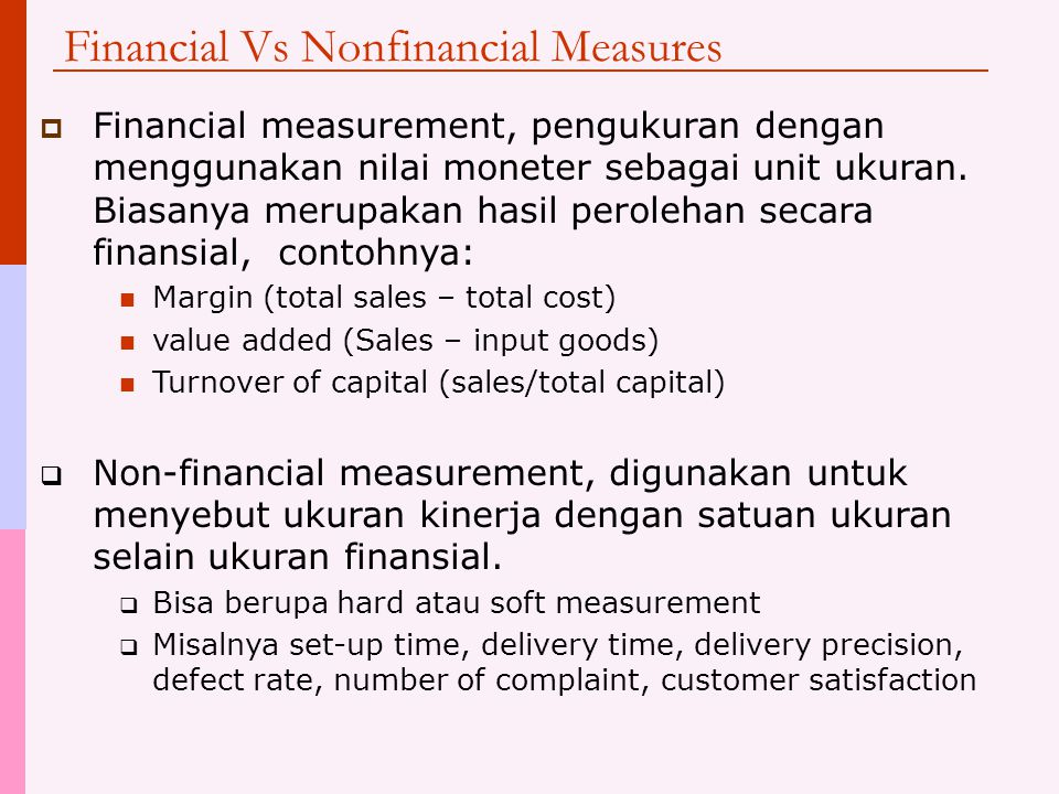 Financial Vs Nonfinancial Measures