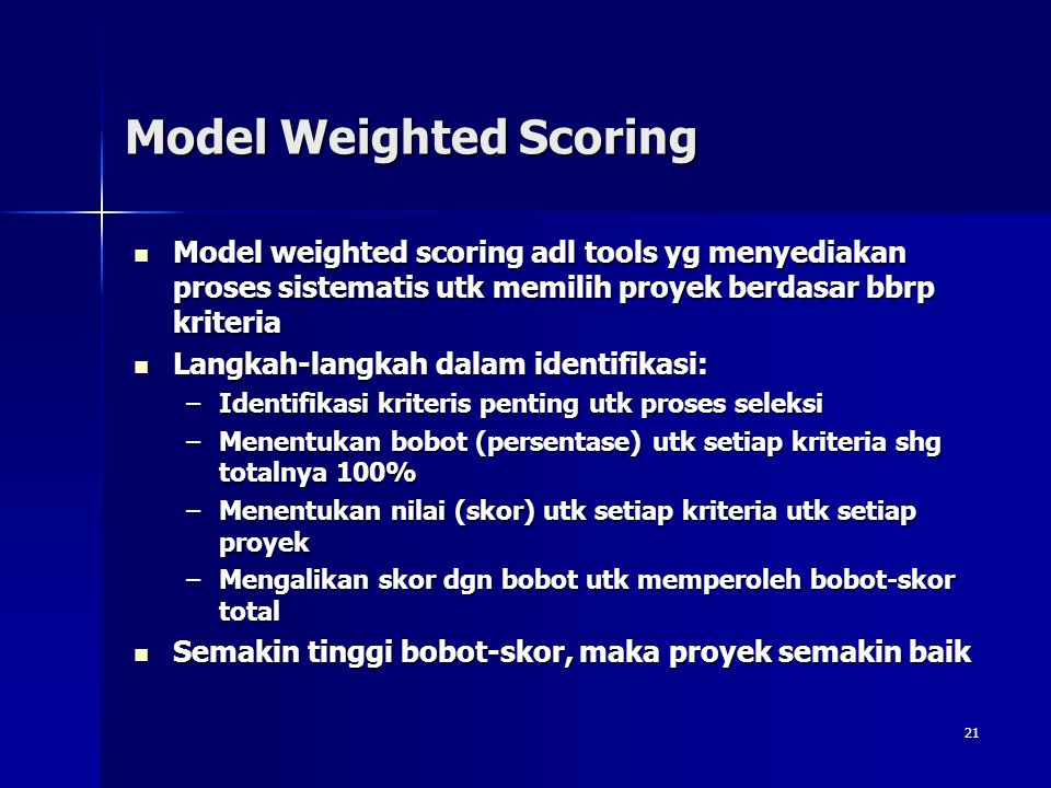 Model Weighted Scoring
