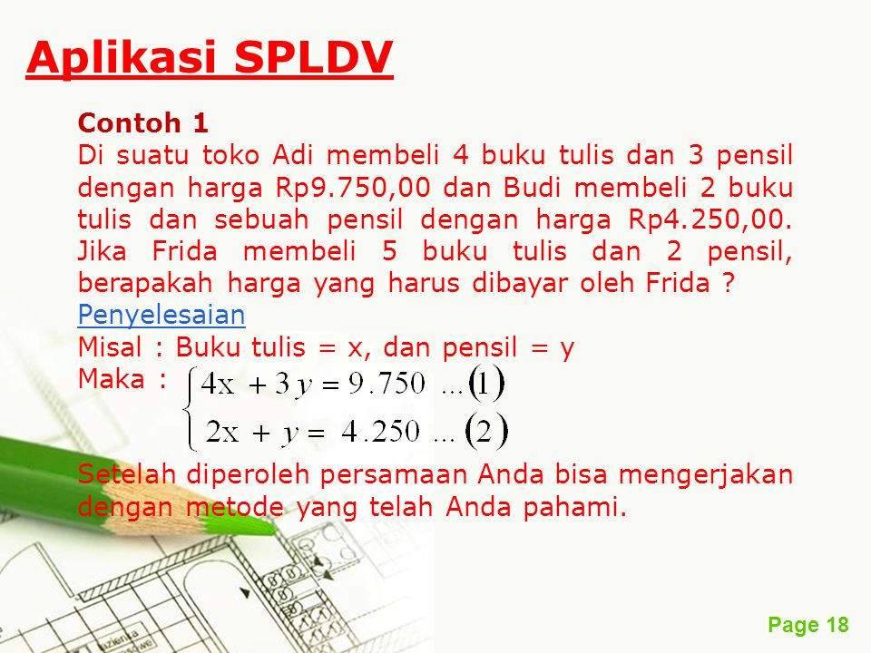 Sistem Persamaan Linear Dua Variabel Spldv By Gisoesilo Abudi Ppt Download