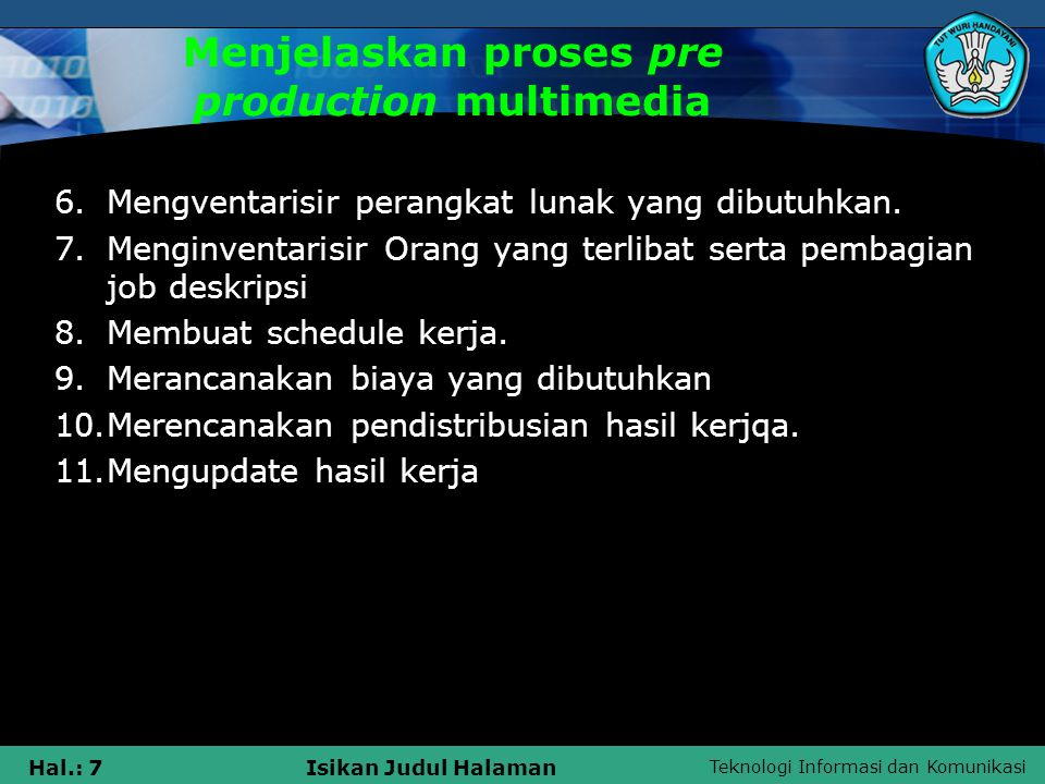 Menjelaskan proses pre production multimedia