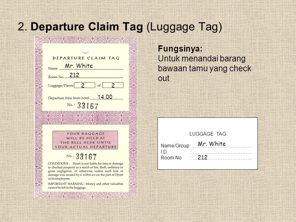 2. Departure Claim Tag (Luggage Tag)