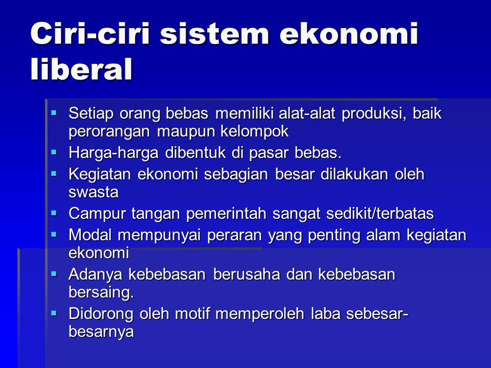 Sistem Ekonomi Sistem Ekonomi Pasar Bebas Kapitalis Liberal Ppt Download