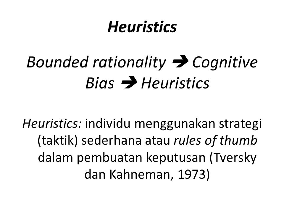 Bounded rationality  Cognitive Bias  Heuristics